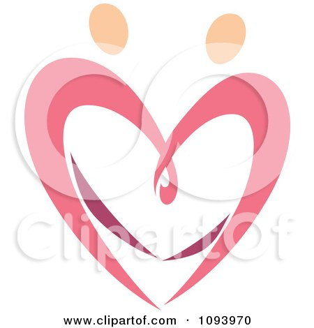 Clipart Dancing Pink Heart People 5 - Royalty Free Vector Illustration by elena