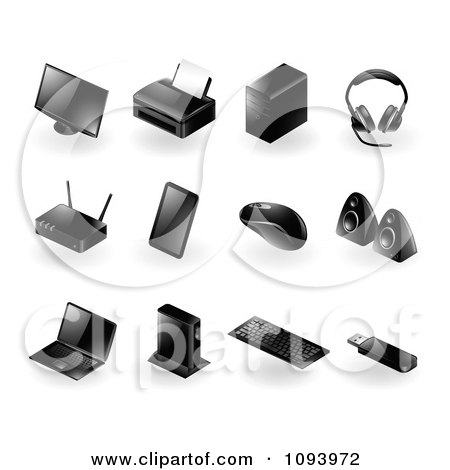 Clipart 3d Black Modern Computer Peripheral herial Icons - Royalty Free Vector Illustration by TA Images