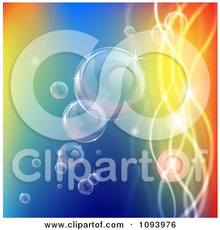 Clipart Bubbles Floating With Colorful Orbs And Waves - Royalty Free Vector Illustration by AtStockIllustration