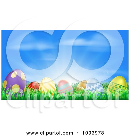 Clipart 3d Easter Eggs Set In Grass Under A Blue Sky With Sunshine - Royalty Free Vector Illustration by AtStockIllustration