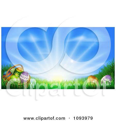 Clipart 3d Easter Basket And Eggs Set In Ggrass Under A Blue Sky With Sunshine - Royalty Free Vector Illustration by AtStockIllustration