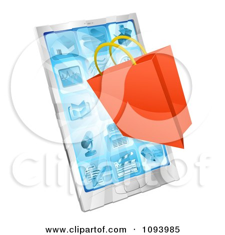 Clipart 3d Shopping Bag Over A Smartphone - Royalty Free Vector Illustration by AtStockIllustration