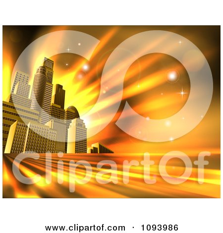 Clipart 3d Skyscrapers In An Urban City Block Against Orange Rays And Flares - Royalty Free Vector Illustration by AtStockIllustration
