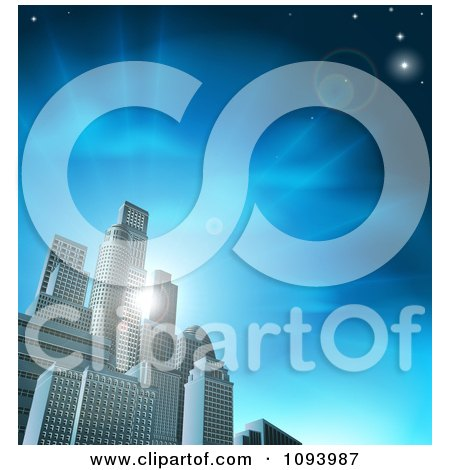 Clipart 3d Skyscrapers In An Urban City Block Against Blue Rays And Sky - Royalty Free Vector Illustration by AtStockIllustration