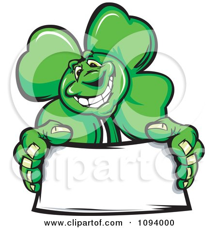 Clipart St Patricks Day Shamrock Clover Holding A Blank Sign - Royalty Free Vector Illustration by Chromaco