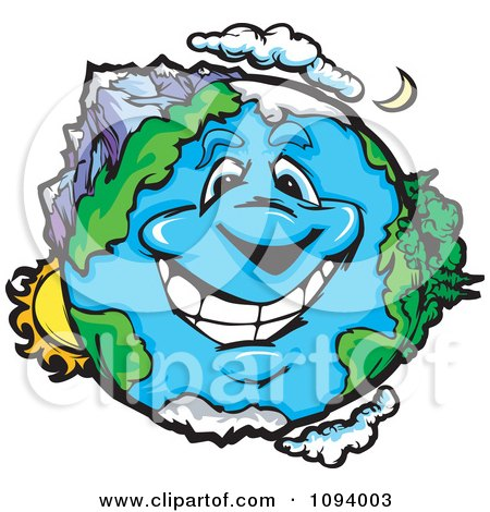 Clipart Happy Smiling Earth Character With Landscapes - Royalty Free Vector Illustration by Chromaco