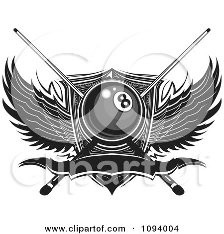 Clipart Billiards Eight Ball With Sticks Wings And Banner - Royalty Free Vector Illustration by Chromaco