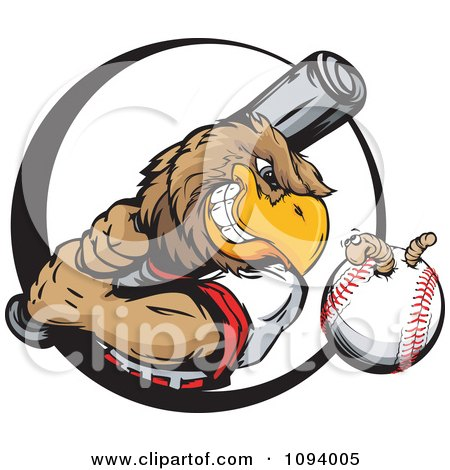 Clipart Strong Baseball Eagle Swinging A Bat At A Ball With A Worm - Royalty Free Vector Illustration by Chromaco