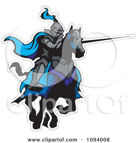 Clipart Jousting Knight With A Blue Cape And Extended Lance - Royalty Free Vector Illustration by Chromaco