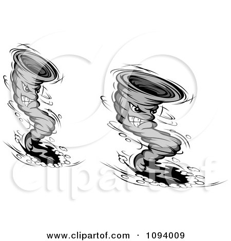 Clipart Grayscale Aggressive Twister Tornado Characters - Royalty Free Vector Illustration by Vector Tradition SM