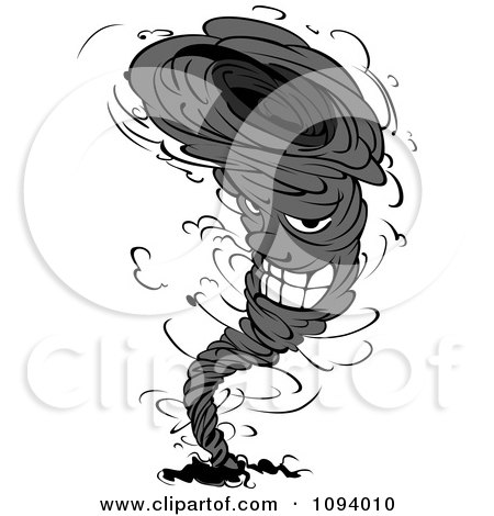Grayscale Twister Tornado Character 2 Posters, Art Prints