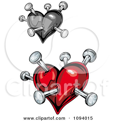 Clipart Shiny Red And Grayscale Stabbed Hearts - Royalty Free Vector Illustration by Vector Tradition SM