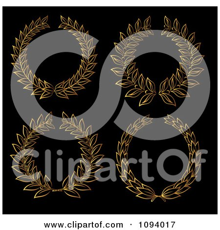 Clipart Gold Leaf Laurel Wreaths - Royalty Free Vector Illustration by Vector Tradition SM