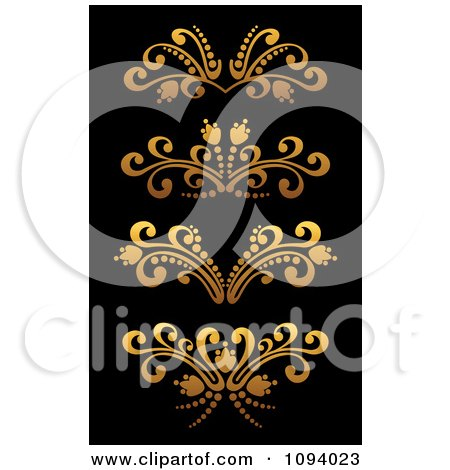 Clipart Golden Flourish Rule And Border Design Elements 5 - Royalty Free Vector Illustration by Vector Tradition SM