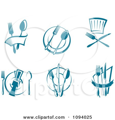 Clipart Blue Dining And Restaurant Logos - Royalty Free Vector Illustration by Vector Tradition SM