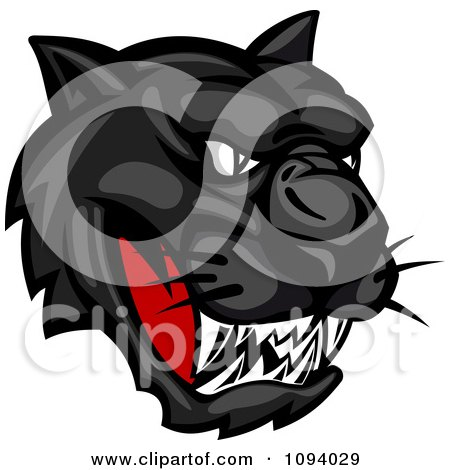 Clipart Fierce Black Panther Face - Royalty Free Vector Illustration by Vector Tradition SM