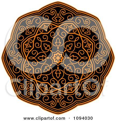 Clipart Orange And Black Medieval Medallion Ornament 1 - Royalty Free Vector Illustration by Vector Tradition SM