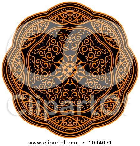 Clipart Orange And Black Medieval Medallion Ornament 2 - Royalty Free Vector Illustration by Vector Tradition SM