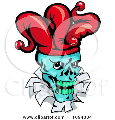 Clipart Blue Joker Head Breaking Through Paper - Royalty Free Vector Illustration by Vector Tradition SM