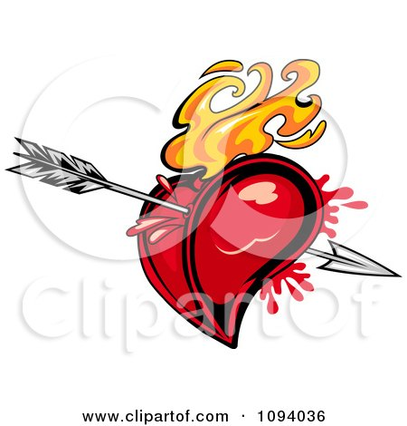 Clipart Flaming Red Heart Pierced With Cupids Arrow - Royalty Free Vector Illustration by Vector Tradition SM