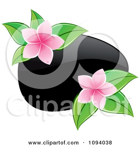 Clipart Black Hot Massage Stone And Pink Frangipani Flowers With Leaves - Royalty Free Vector Illustration by Vector Tradition SM