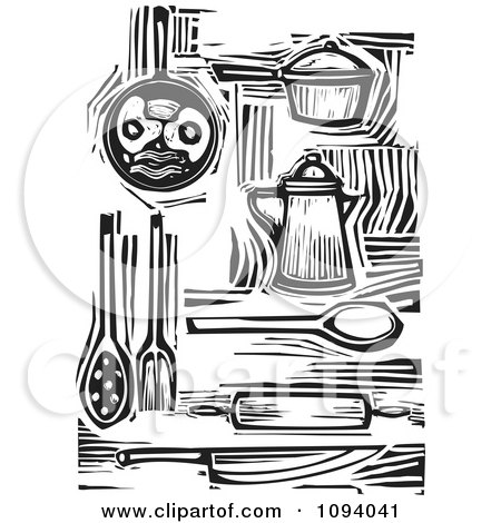 Kitchen Items And Food Black And White Woodcuts Posters, Art Prints