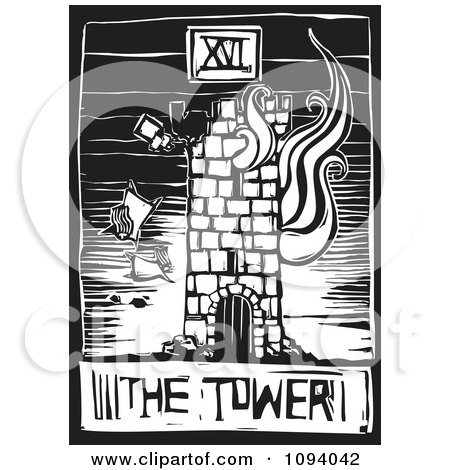 Clipart Burning Tower Tarot Card Black And White Woodcut - Royalty Free Vector Illustration by xunantunich