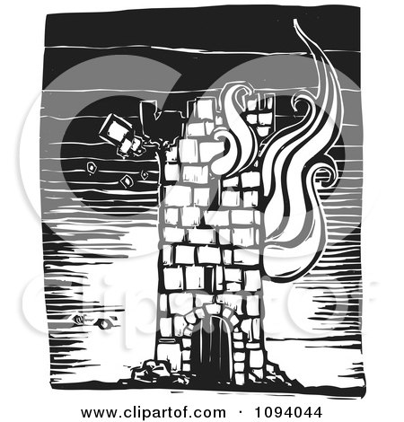 Clipart Burning Tower Black And White Woodcut - Royalty Free Vector Illustration by xunantunich
