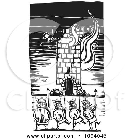 Clipart Vikings And A Burning Tower Black And White Woodcut - Royalty Free Vector Illustration by xunantunich