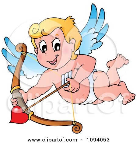 Clipart Valentine Cupid Shooting A Heart Arrow - Royalty Free Vector Illustration by visekart