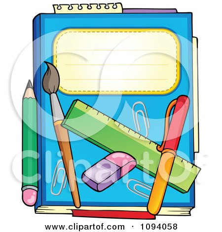 Blue Notebook With A Pencil Paintbrush Eraser Ruler And Pen Posters, Art Prints