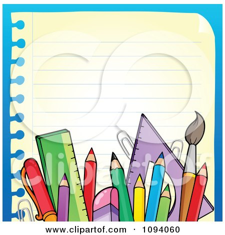 Clipart Border Of School Supplies And Ruled Paper 2 - Royalty Free Vector Illustration by visekart