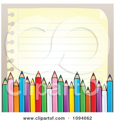 Clipart Border Of Colored Pencils And Paper Copyspace - Royalty Free Vector Illustration by visekart