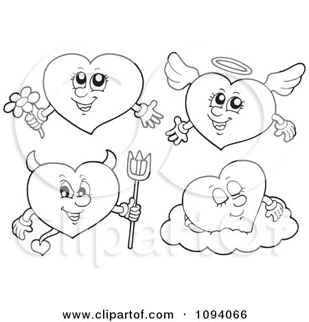 Clipart Outlined Angel And Devil Hearts - Royalty Free Vector Illustration by visekart