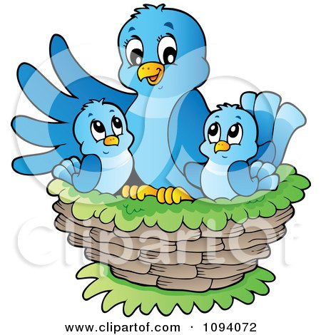 Clipart Blue Bird And Chicks In A Nest - Royalty Free Vector Illustration by visekart