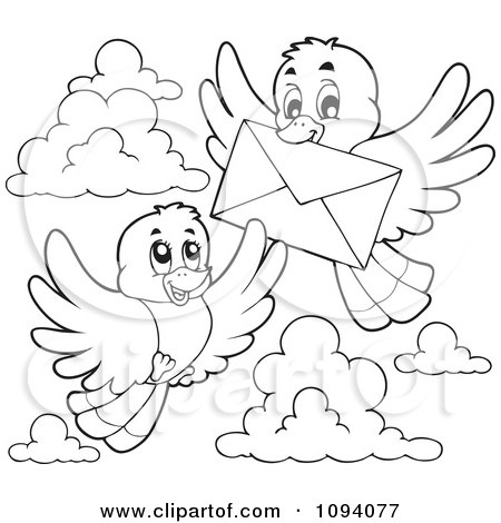 Clipart Illustration of a Blue And Yellow Bird Flying With An Envelope ...