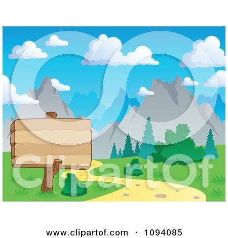 Clipart Wood Sign By A Nature Trail And Summer Mountain Landscape - Royalty Free Vector Illustration by visekart