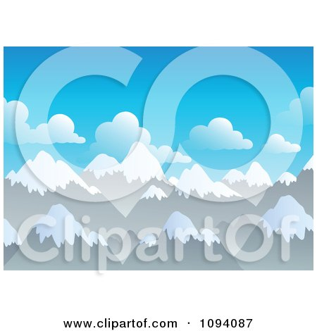 Clipart Background Of Snow Capped Mountain Peaks - Royalty Free Vector Illustration by visekart