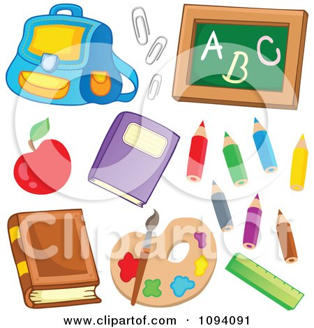 Clipart School Back Pack Paperclips Chalkboard Apple Books Colored Pencils Paints And Ruler - Royalty Free Vector Illustration by visekart
