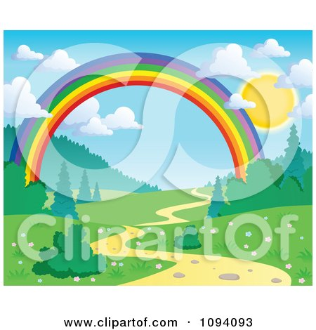 Clipart Full Sun With Puffy Clouds Over A Spring Landscape With A Rainbow And Path - Royalty Free Vector Illustration by visekart