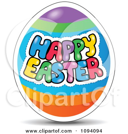 Clipart Colorful Happy Easter Greeting On An Egg - Royalty Free Vector Illustration by visekart