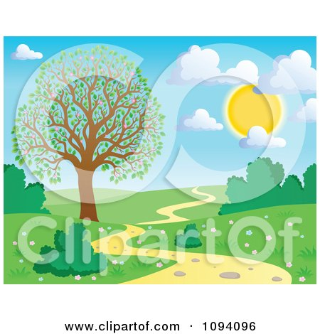 Clipart Full Sun With Puffy Clouds Over A Spring Landscape With A Blossoming Tree And Path - Royalty Free Vector Illustration by visekart