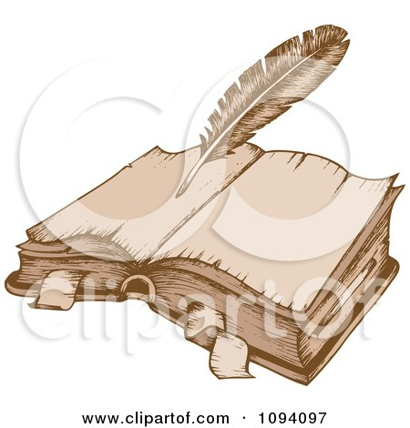Clipart Antique Quill Pen And Open Book - Royalty Free Vector Illustration by visekart