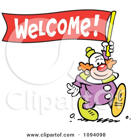 Clipart Clown Carrying A Welcome Banner - Royalty Free Vector Illustration by Johnny Sajem