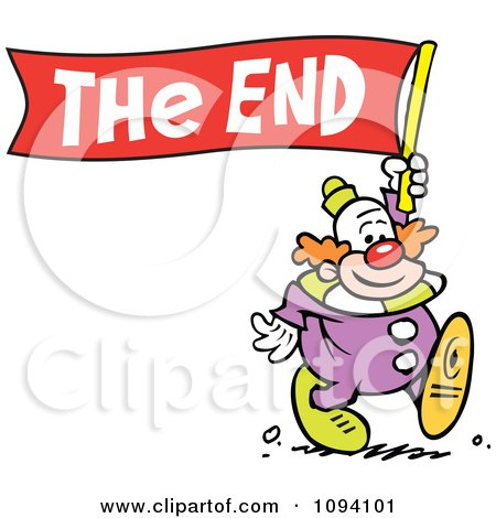 clipart clown carrying a the end banner royalty free vector rh clipartof com animated clip art the end the end clip art animation