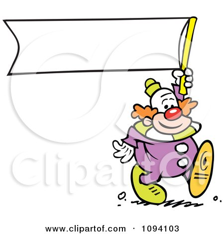Clipart Clown Carrying A Blank Banner - Royalty Free Vector Illustration by Johnny Sajem