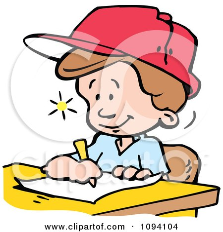 Clipart Creative Boy Writing Down Ideas - Royalty Free Vector Illustration by Johnny Sajem