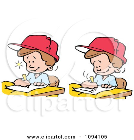 Clipart Creative Blond Boys Writing Down Ideas - Royalty Free Vector Illustration by Johnny Sajem