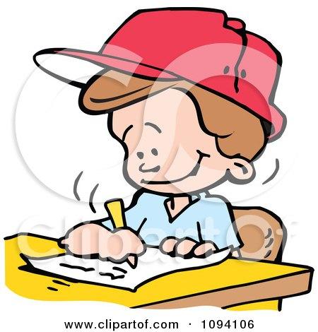 Clipart School Boy Writing An Essay - Royalty Free Vector Illustration by Johnny Sajem