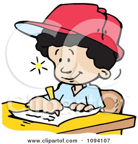 Clipart Creative School Boy Writing Down Ideas - Royalty Free Vector Illustration by Johnny Sajem